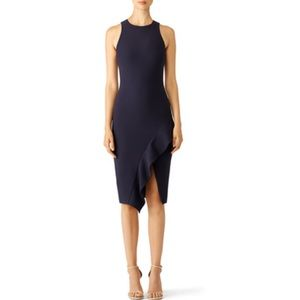Cinq a Sept Navy Midi Sheath Dress with Ruffle